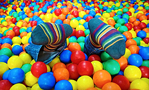 Playing in ball pit at Bounce!